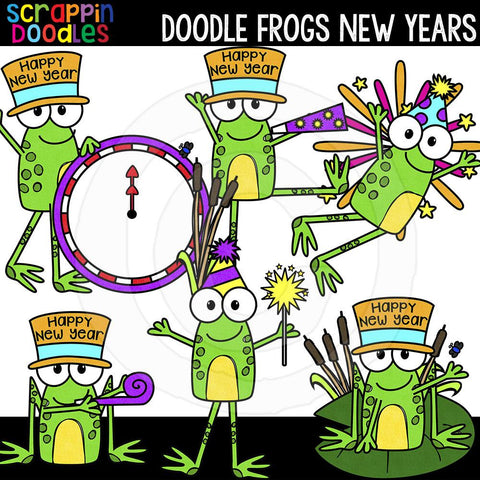Doodle Frogs New Years clip art