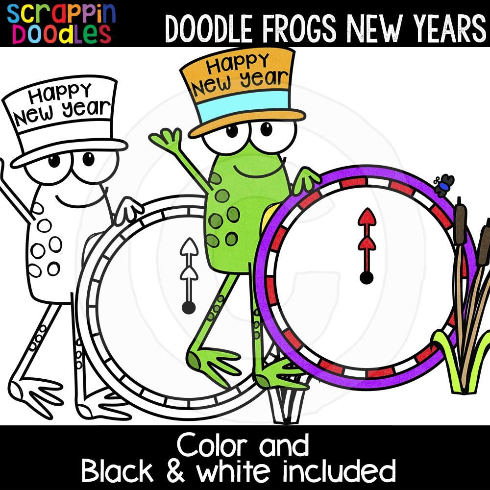 Doodle Frogs New Years Clip Art Scrappin Doodles