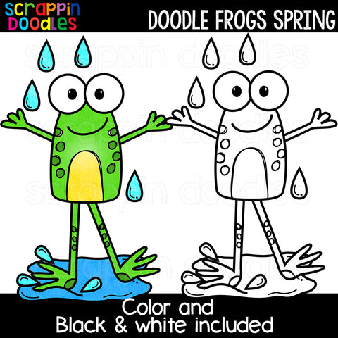 Doodle Frogs Spring Clip Art