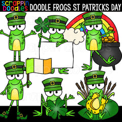 Doodle Frogs St Patricks Day Clip Art Commercial Use