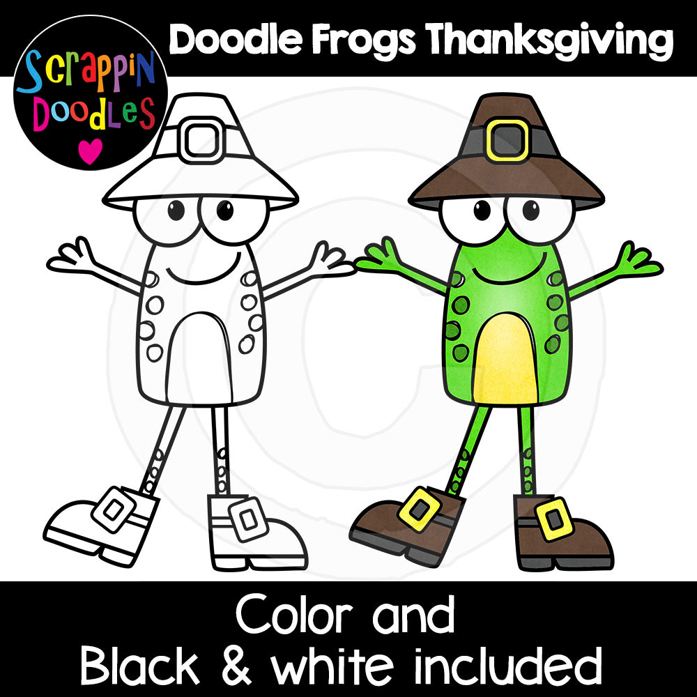 Doodle Frogs Thanksgiving Clip Art