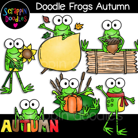 Doodle Frogs Autumn Clip Art Fall Seasons Seasonal