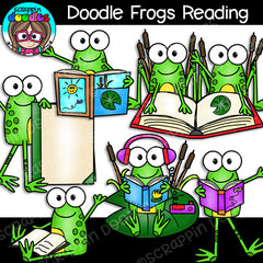 Doodle Frogs Reading Clip Art