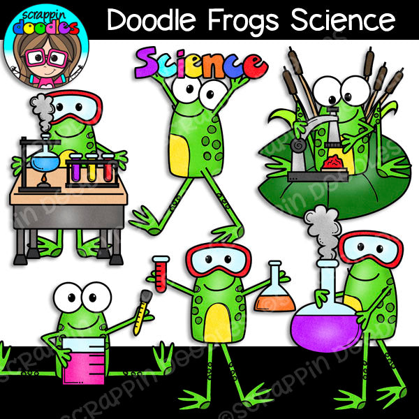 Doodle Frogs Science Clip Art