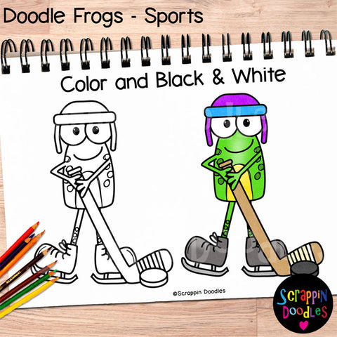 Doodle Frogs Sports Clip Art