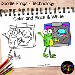 Doodle Frogs Technology Clip Art