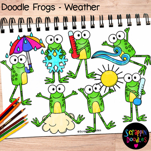 Doodle Frogs Weather Clip Art
