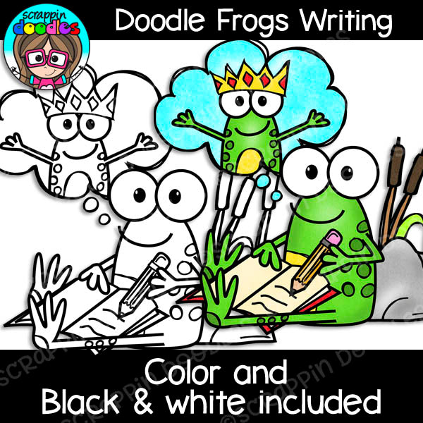 Doodle Frogs Writing Clip Art