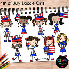 Doodle Girls - 4th of July USA Kids Clip Art