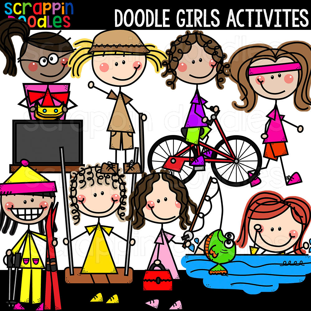 Doodle Girls Activities Clip Art Commercial Use Swimming hiking cycling running skiing fishing swimming