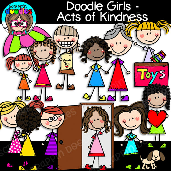 Doodle Girls Acts of Kindness Clip Art Kids