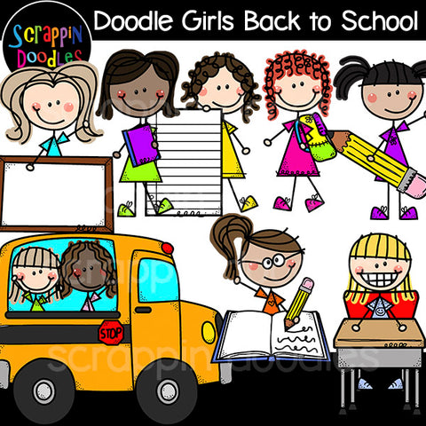 Doodle Girls - Back to School Clip Art kids first day of school