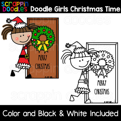 Doodle Girls Christmas Time Clip Art