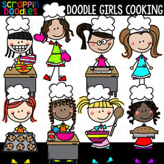 Doodle Girls Cooking Clip Art