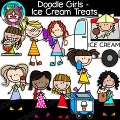 Doodle Girls - Ice Cream Treats Clip Art stick kids