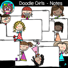 Doodle Girls - Notes Clip Art Stick Kids Figures