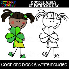 Doodle Girls St. Patricks Day Clip Art Commercial Use