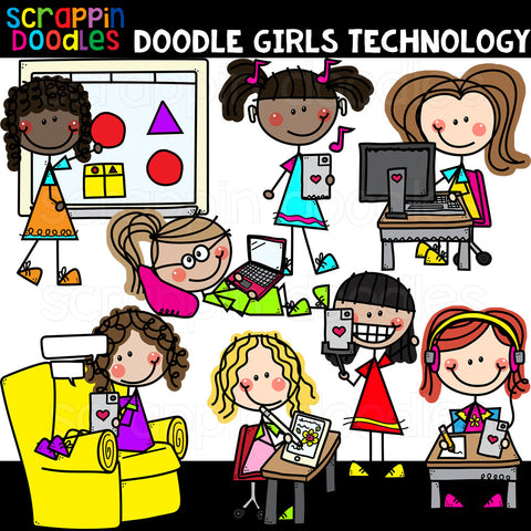 Doodle Girls Technology Clip Art