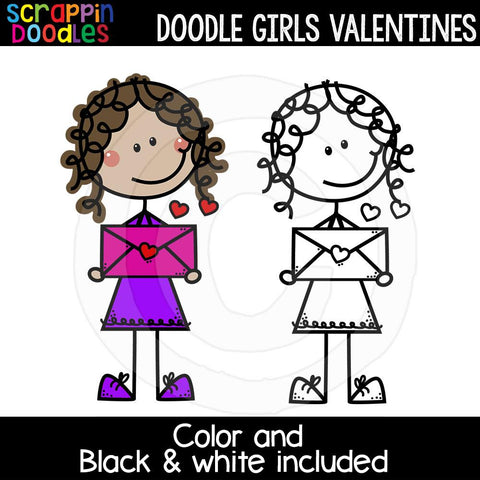Doodle Girls Valentines Clip Art Kids Commercial Use