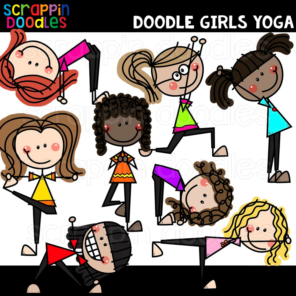 Doodle Girls Doing Yoga Poses Clip Art