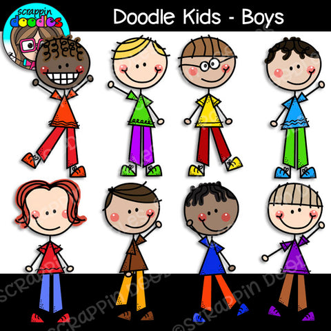 Doodle Kids Boys Clip Art Stick People Family