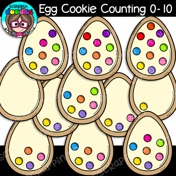 Easter Egg Cookie Counting Clip Art