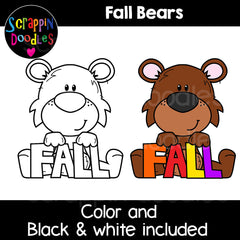 Fall Bears Clip Art Autumn brown black
