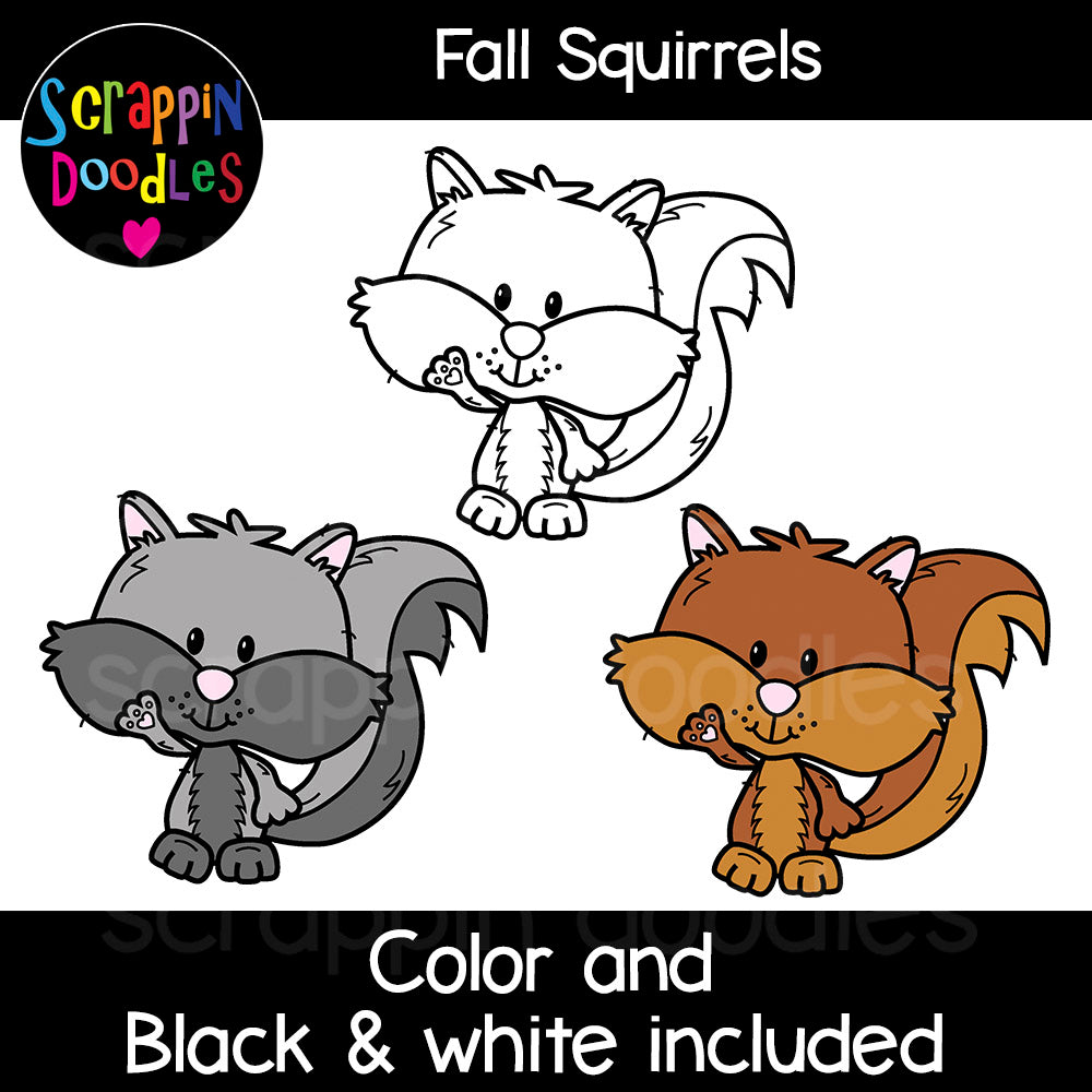 Fall Squirrels Clip Art