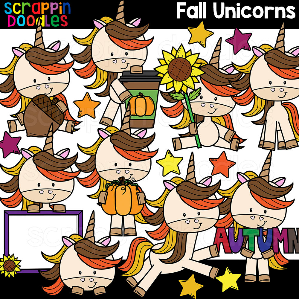 Fall Unicorns Clipart