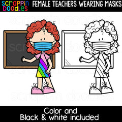 Female Teachers Wearing Masks Clipart