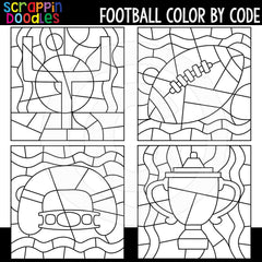 Football Color By Code Templates Commercial Use Number