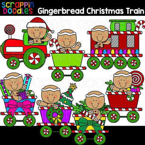 Ginger Christmas Train Clip Art gingerbread commercial use