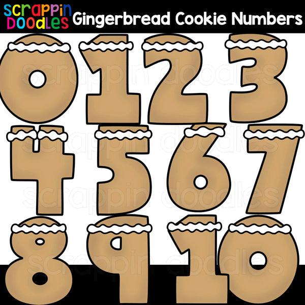 Gingerbread Cookie Numbers 0 - 10 Clip Art
