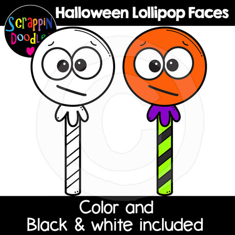 Halloween Lollipop Faces Clip Art expressions emotions