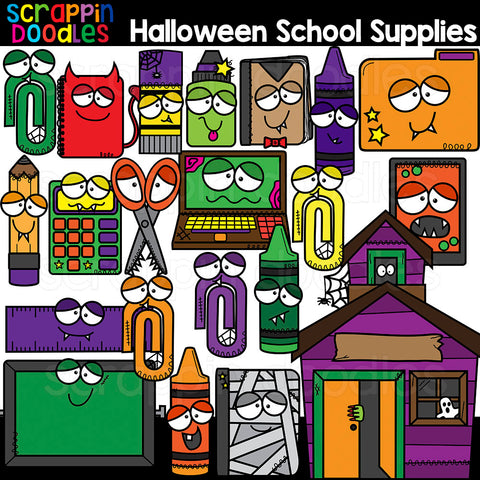 Halloween School Supplies Clipart