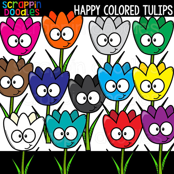 Happy Colored Tulips Clip Art Commercial Use
