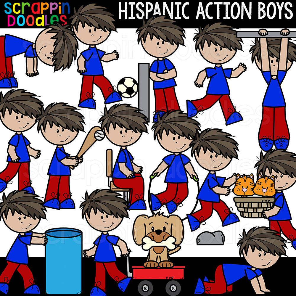 Hispanic Action Boys Clipart