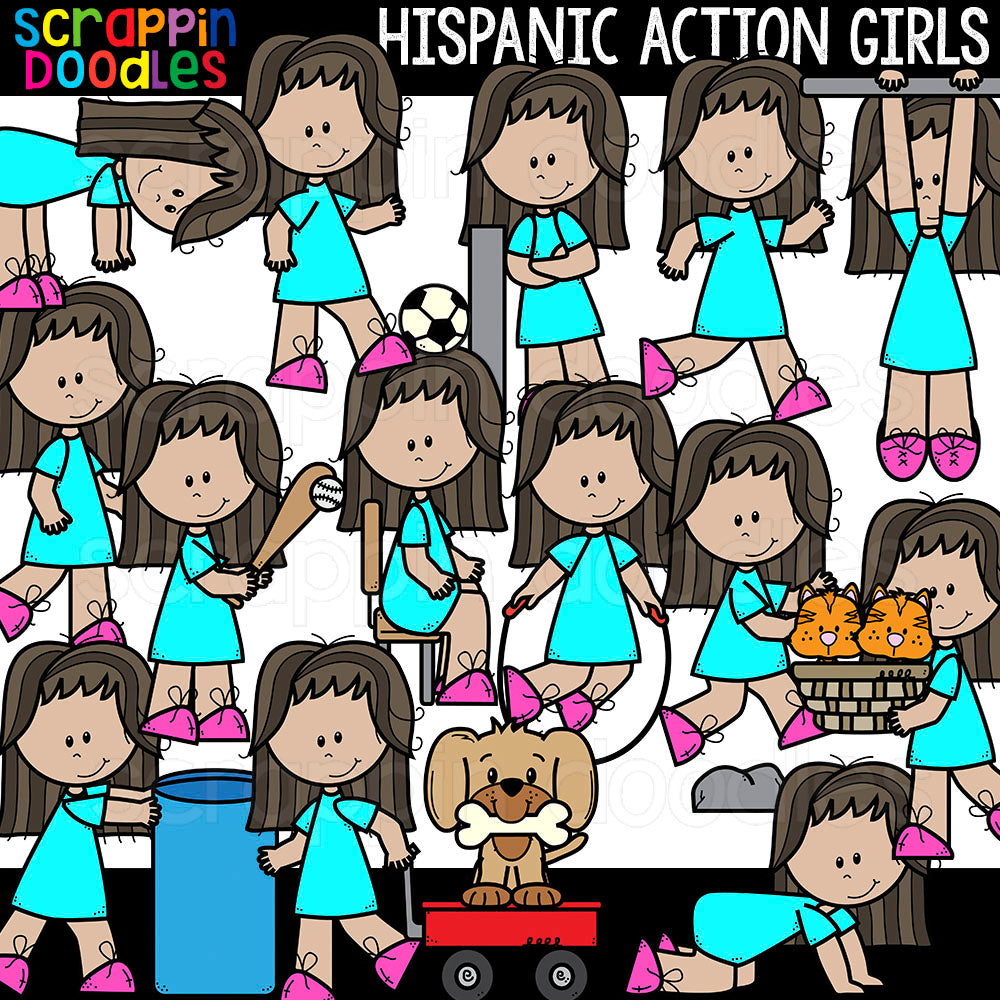 Hispanic Action Girls Clipart