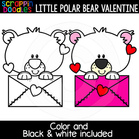 Little Polar Bear Valentine Day Clip Art Commercial Use
