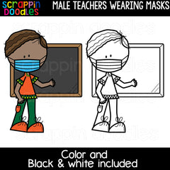 Teachers Wearing Masks Clipart Bundle