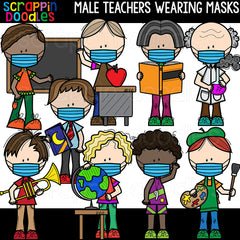 Male Teachers Wearing Masks Clipart