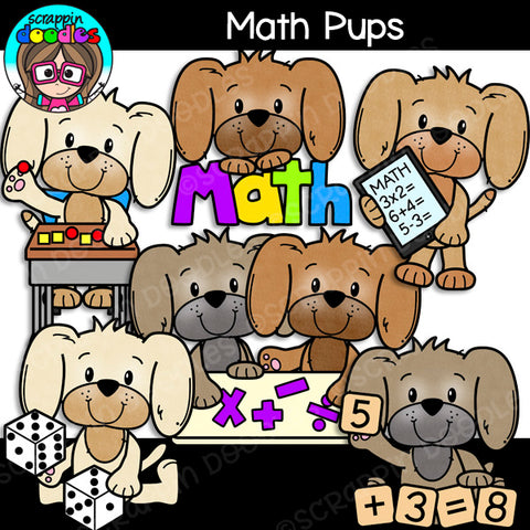 Cute School Pups Clipart Bundle
