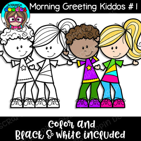 Morning Greeting Kiddos #1 Clip Art