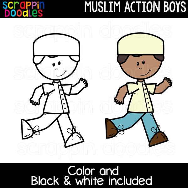 Muslim Action Boys Clipart