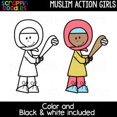 Muslim Action Girls Clipart
