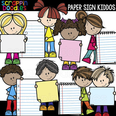 Paper Sign Kiddos Clip Art kids holding sign