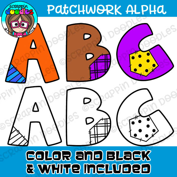 Patchwork Upper Case Alphabet Clipart
