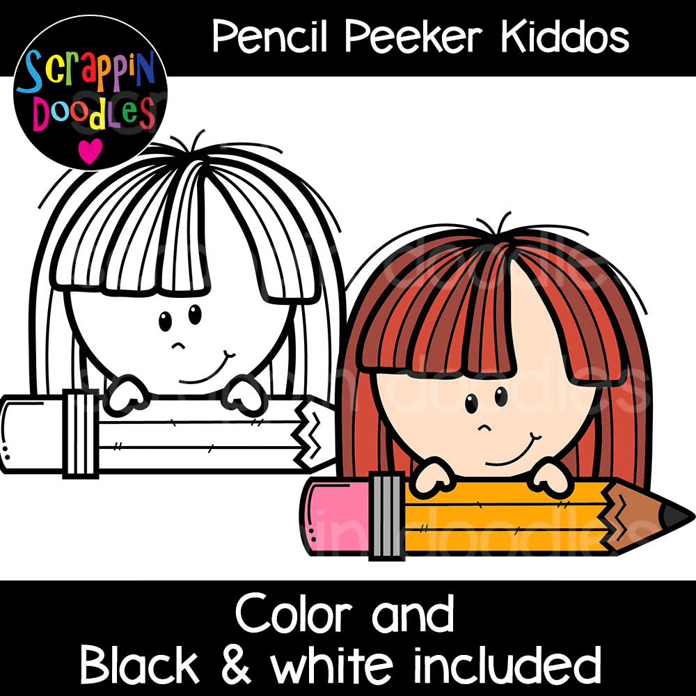 Pencil Peeker Kiddos Clip art kids peeking toppers