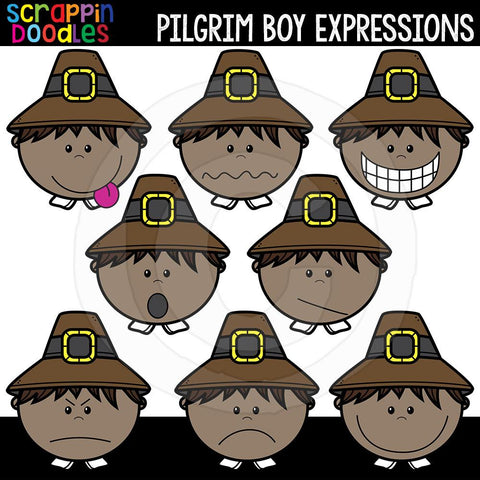 Pilgrim Boy Expressions Thanksgiving Clip Art