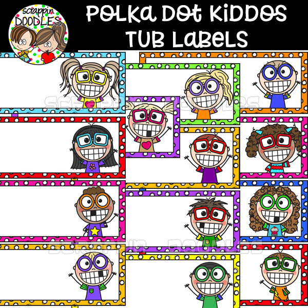 Polka Dot Kiddo Tub Labels